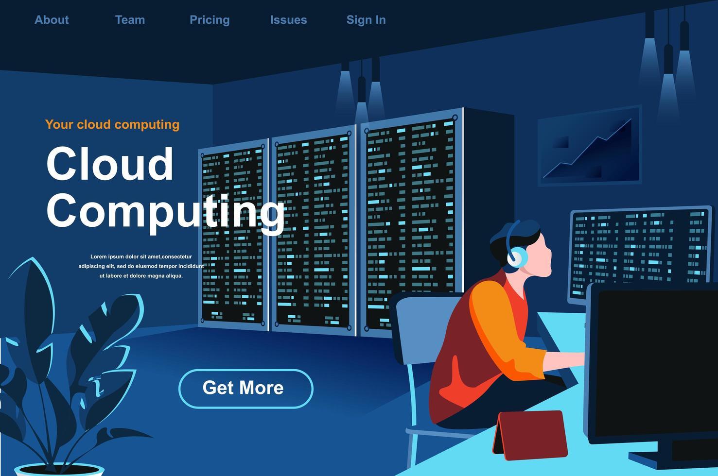 página de inicio isométrica de computación en la nube vector