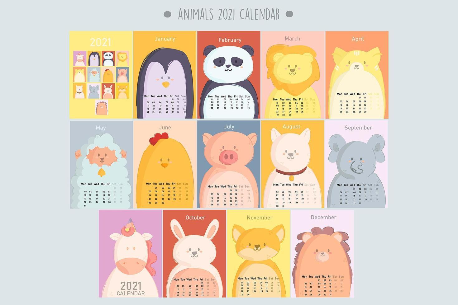 animales calendario 2021 vector