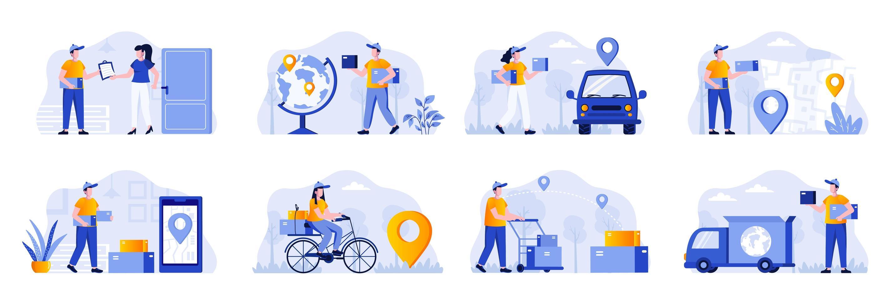 Paquete de escenas de entrega con personajes de personas. vector