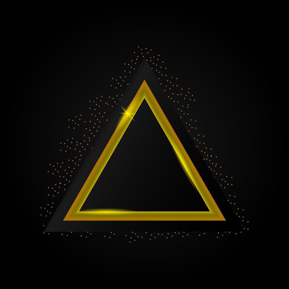 diseño de marco brillante triángulo dorado de lujo vector