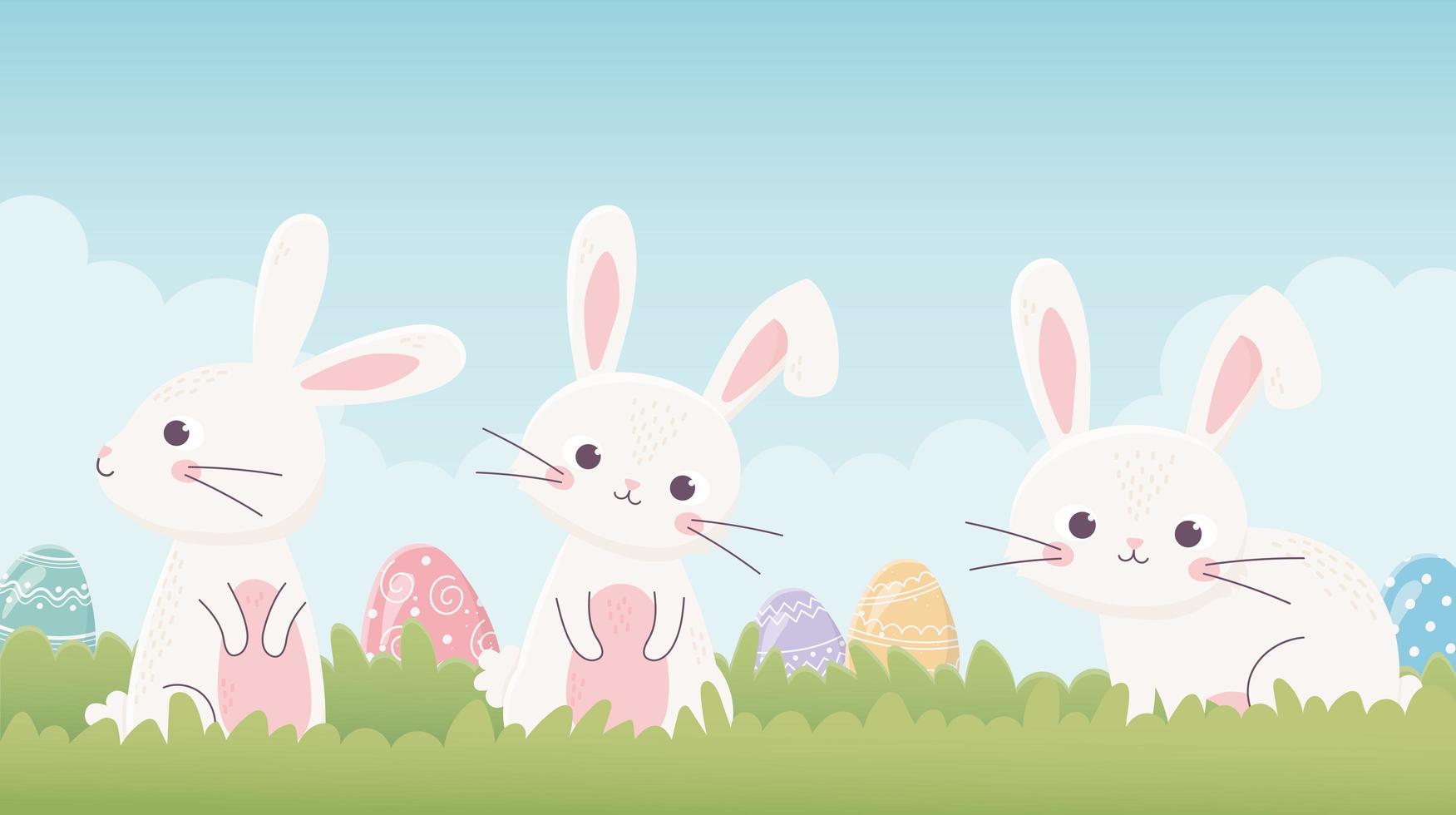 lindos conejitos y huevos para la celebración de pascua vector