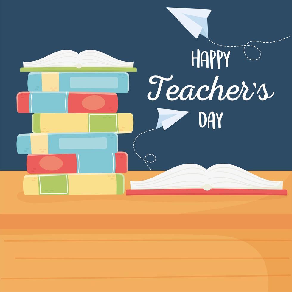 composición de materiales escolares para el día del maestro. vector