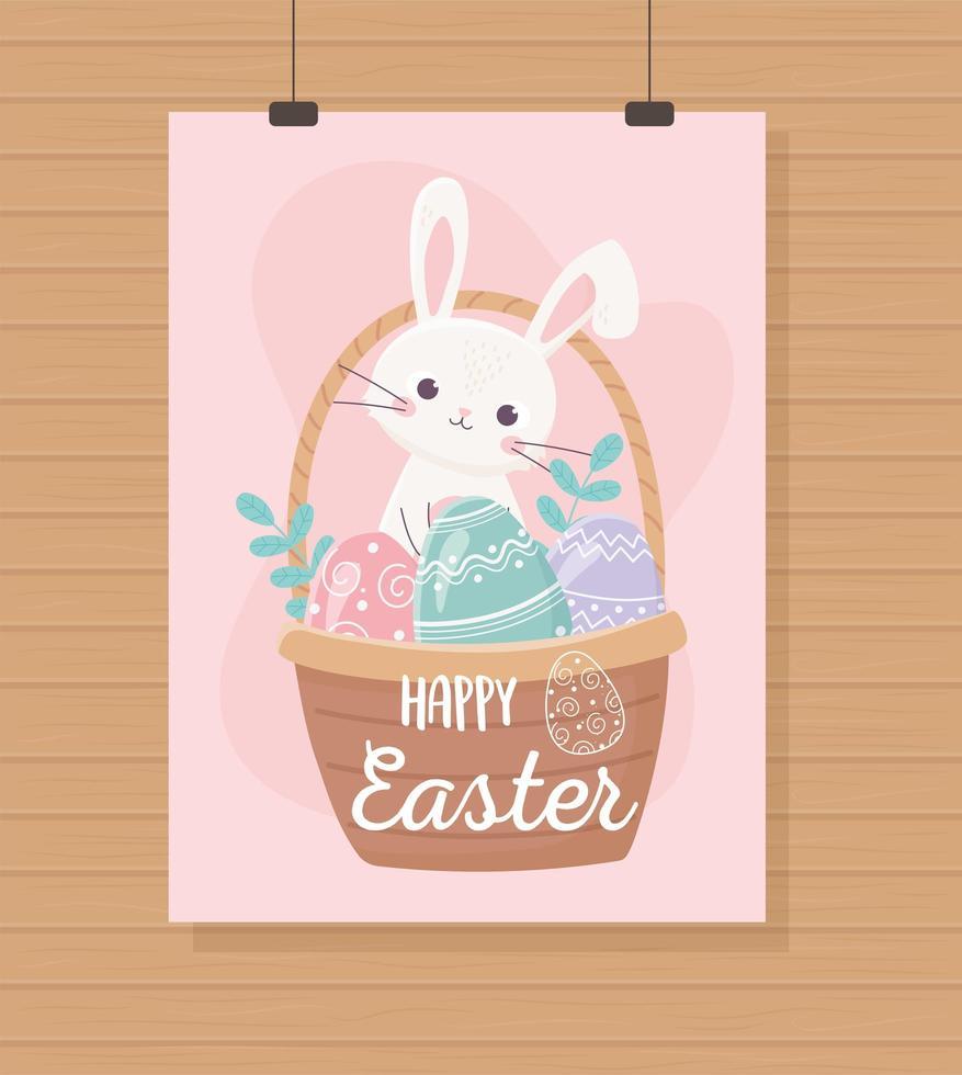 Easter Day celebration hanging card vector