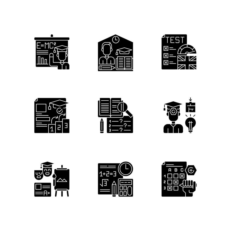 tipos de examen, conjunto de iconos de glifos negros vector