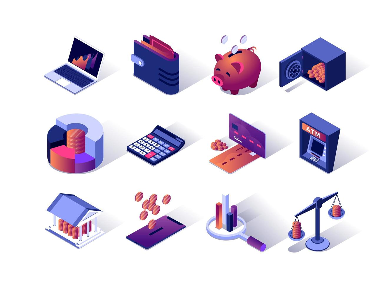 Financial management isometric icons set vector