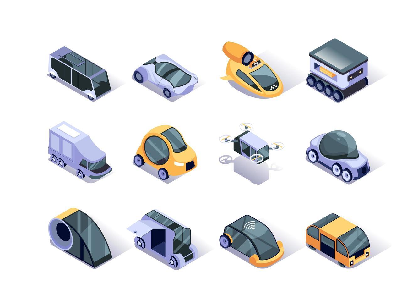 Autonomous vehicles isometric icons set vector