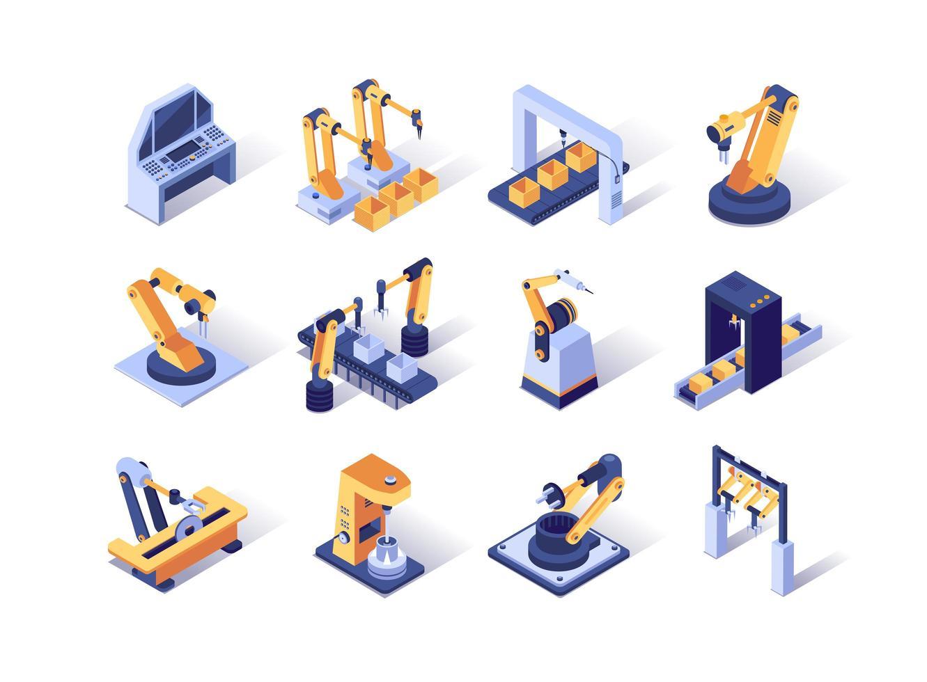 conjunto de iconos isométricos de la industria de robotización vector
