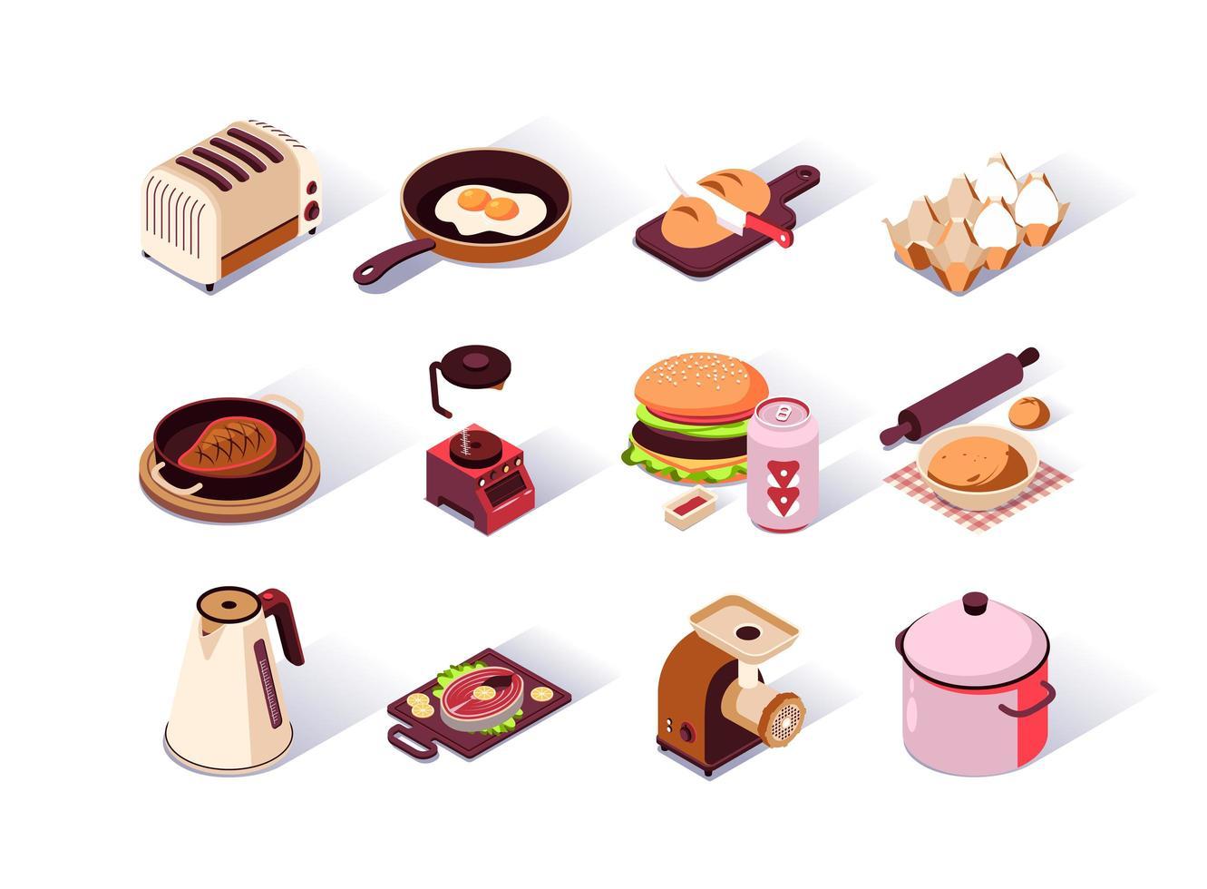 conjunto de iconos isométricos de utensilios de cocina vector