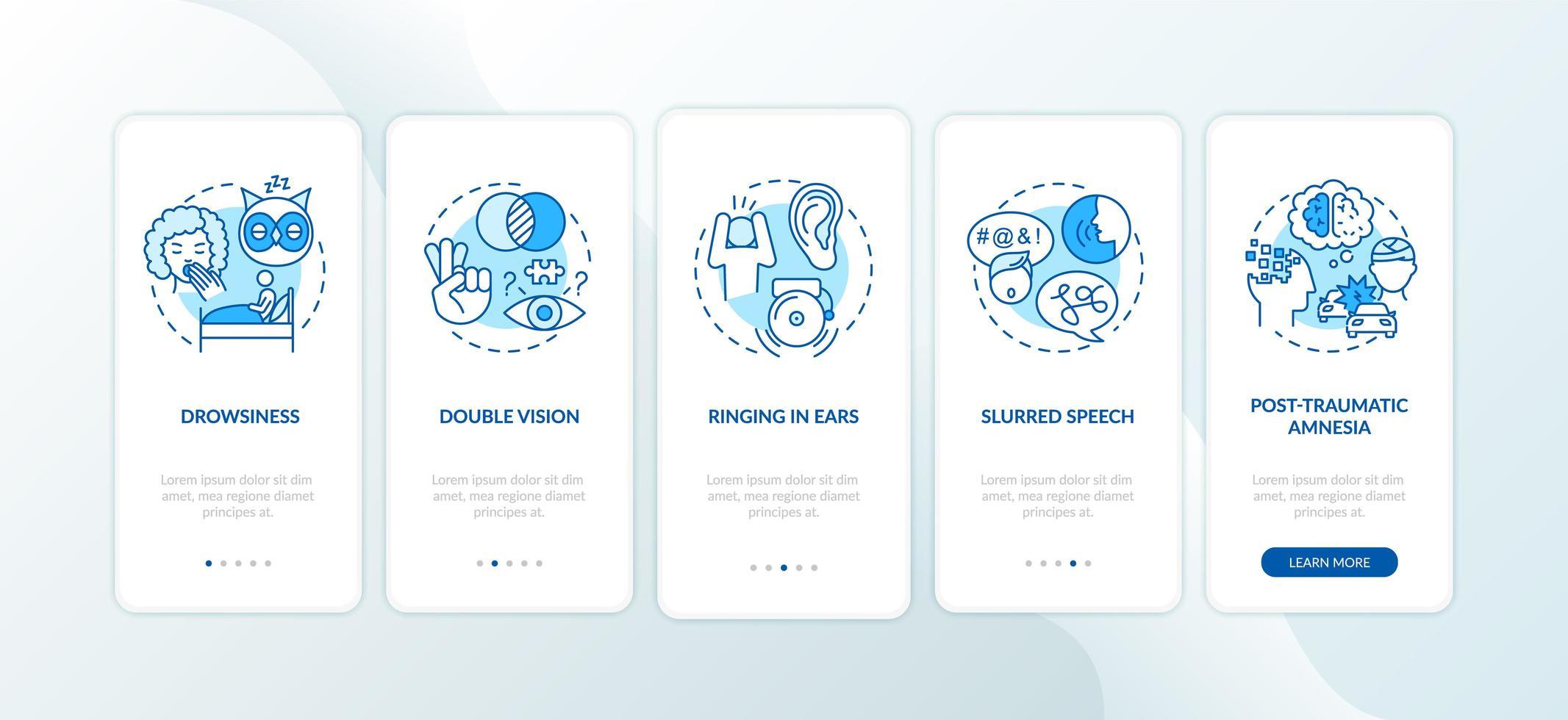traumatismo craneal, pantalla azul de la página de la aplicación móvil vector