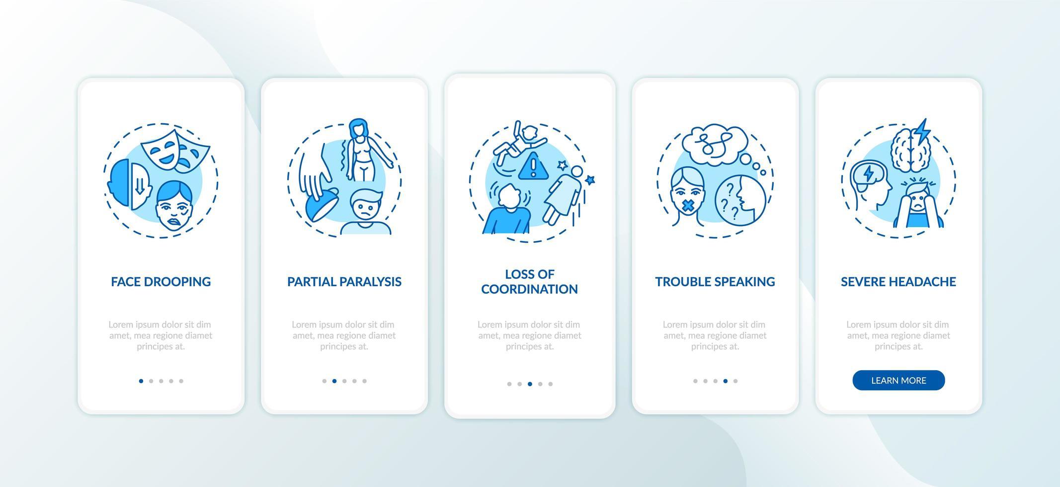 accidente cerebrovascular, conceptos de la pantalla de la página de la aplicación móvil vector