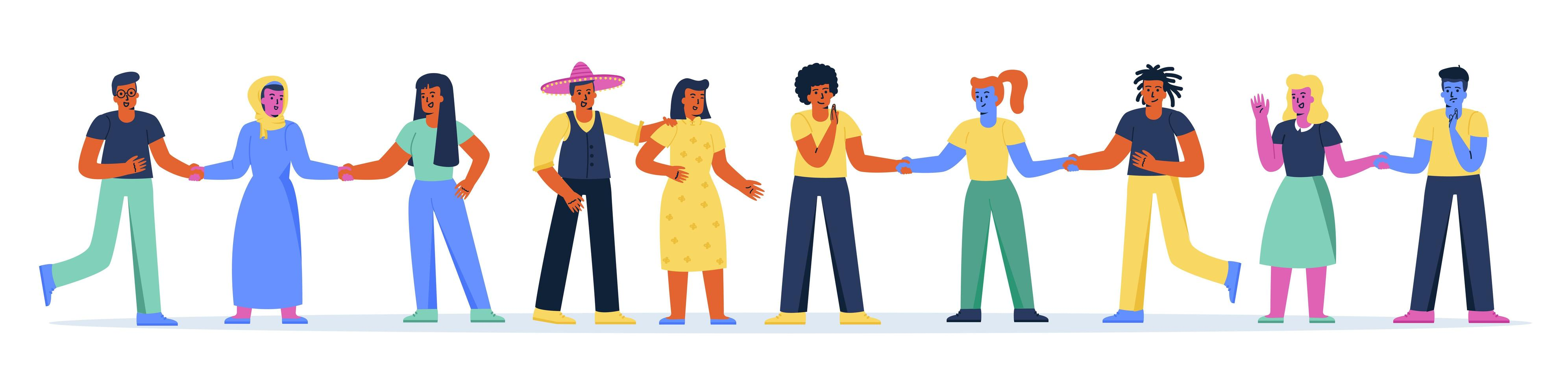 Horizontal banner with multiracial group of people vector
