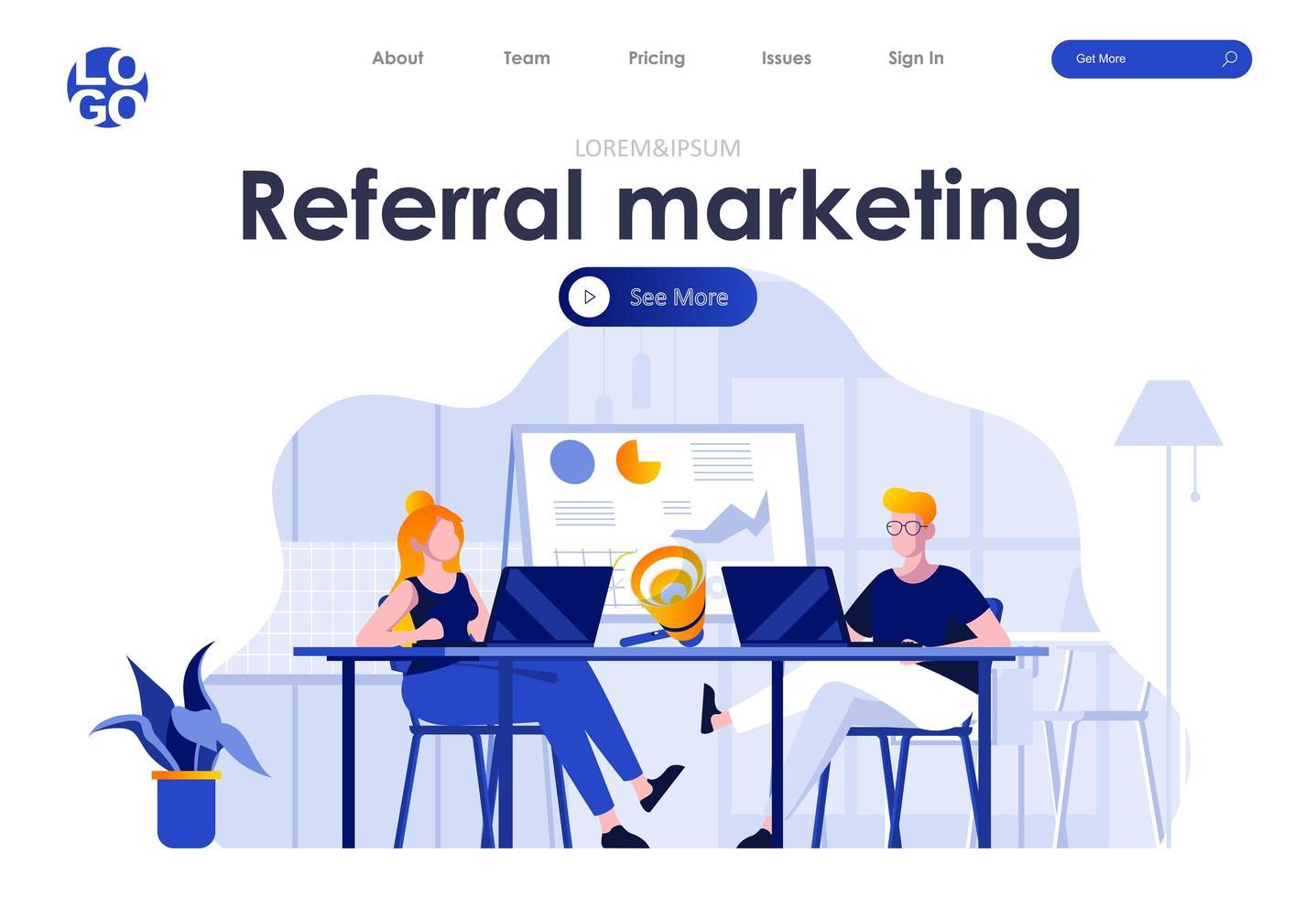 Referral marketing flat landing page design vector