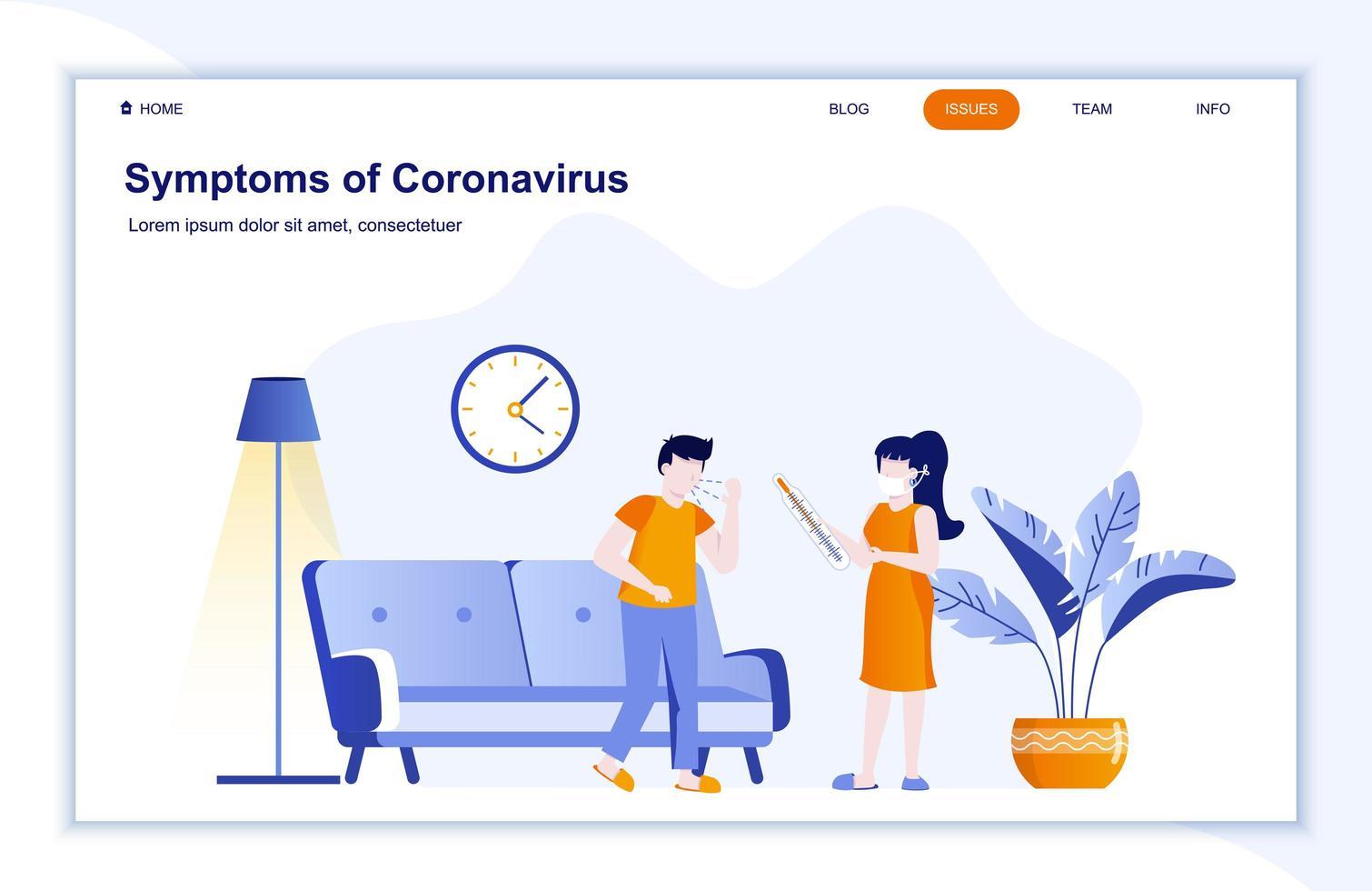 síntomas de la página de inicio plana de la enfermedad del coronavirus vector