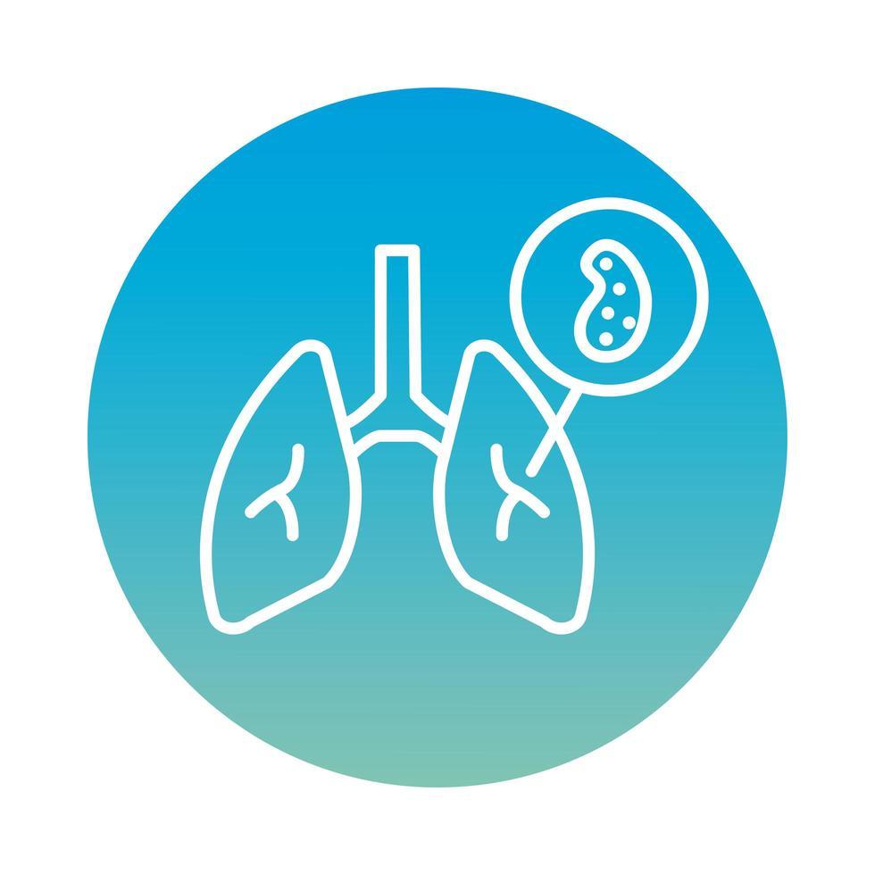 pulmones con estilo de bloque de partículas de virus covid19 vector