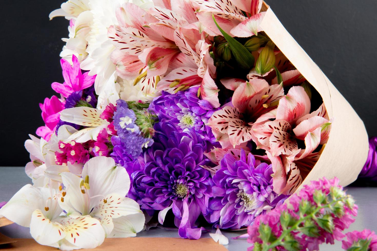 Top view of a bouquet of flowers photo