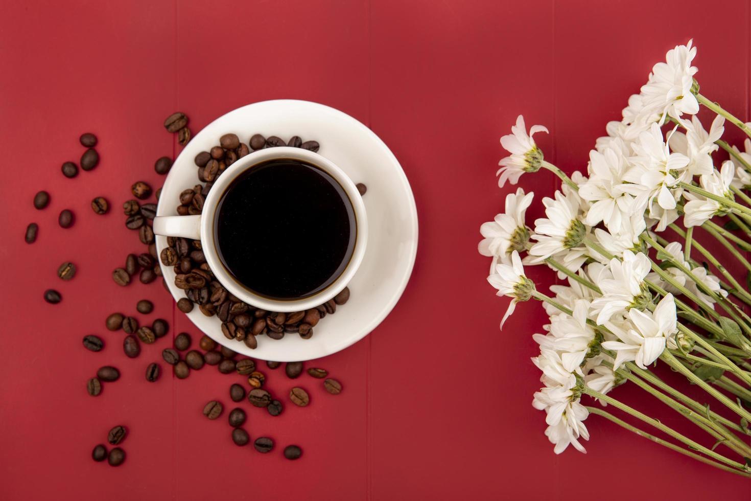 Vista superior del café en una taza blanca con granos de café sobre un fondo rojo. foto