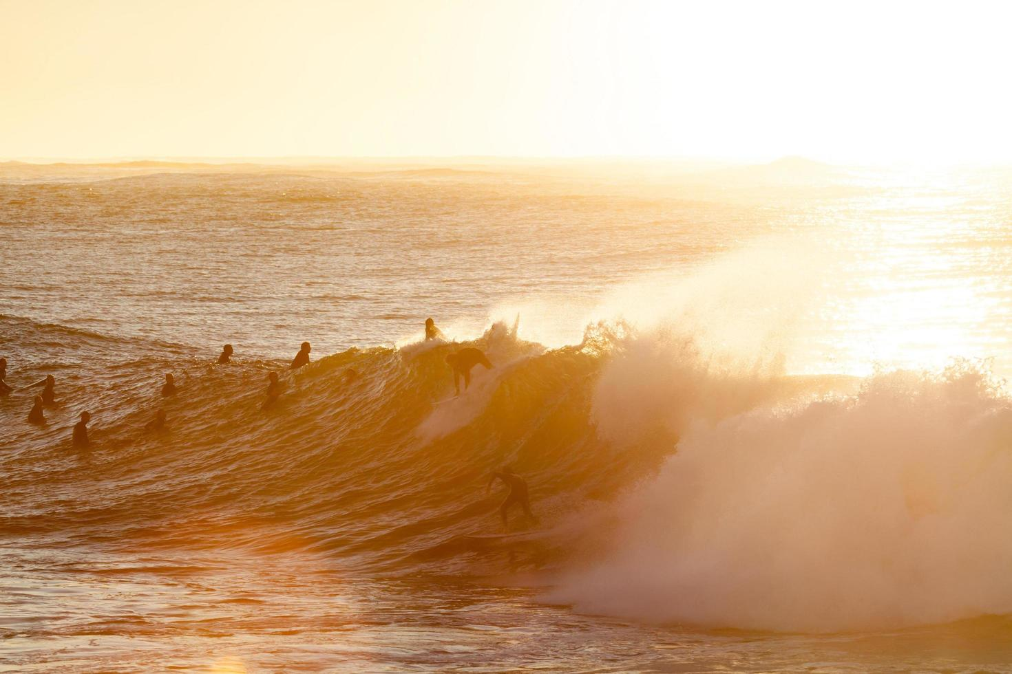 Silhouettes of people surfing at golden hour photo
