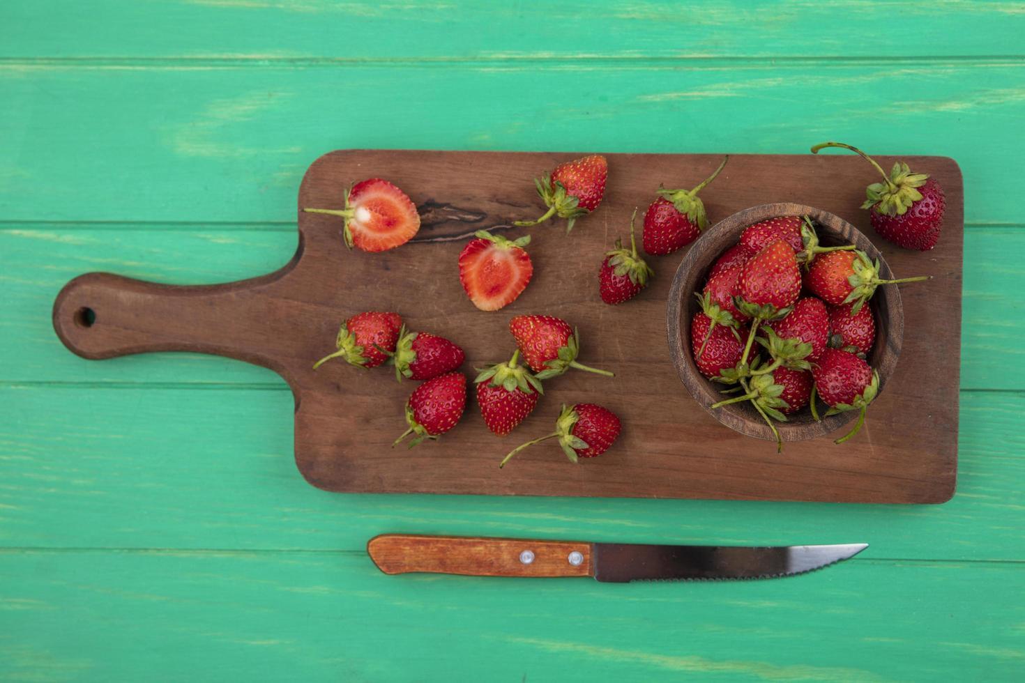 vista superior de fresas frescas foto