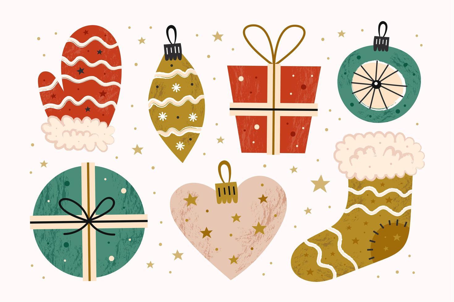 feliz navidad decoración, regalos en cajas, calcetín, manopla vector