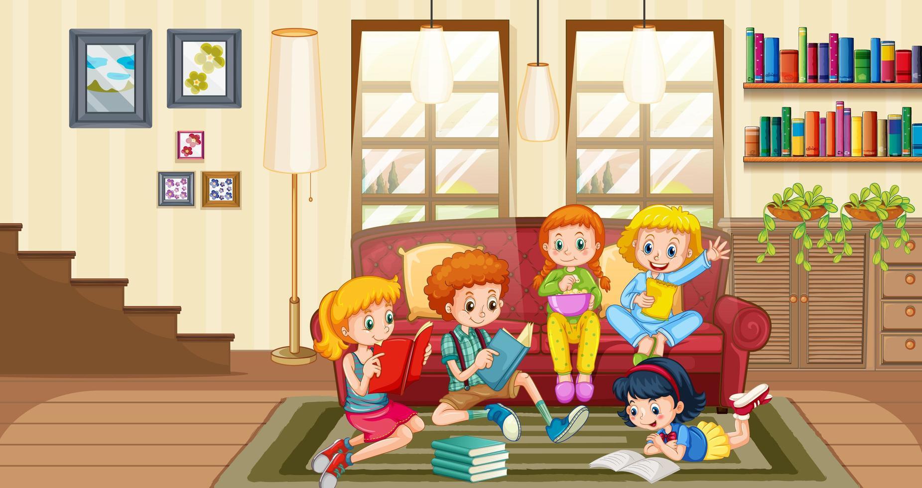 los niños disfrutan leyendo libros en casa vector
