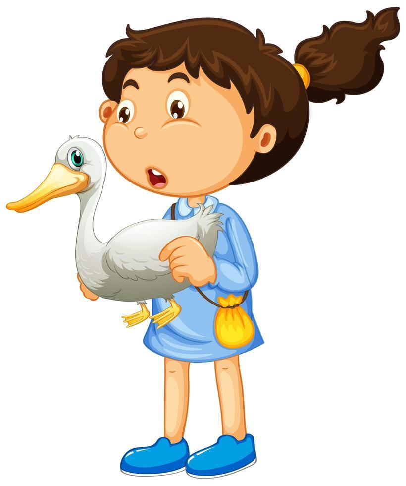 niña joven, tenencia, pato vector