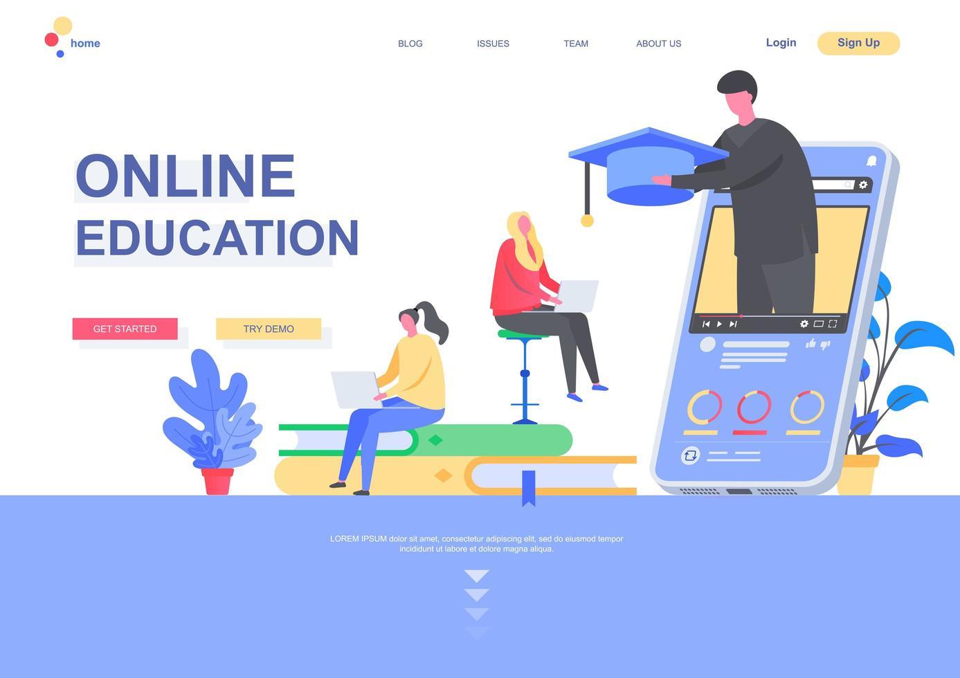 plantilla de página de destino plana de educación en línea vector