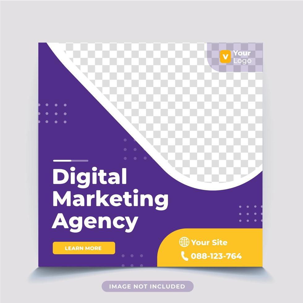 plantilla de publicación de redes sociales de marketing de negocios digitales vector