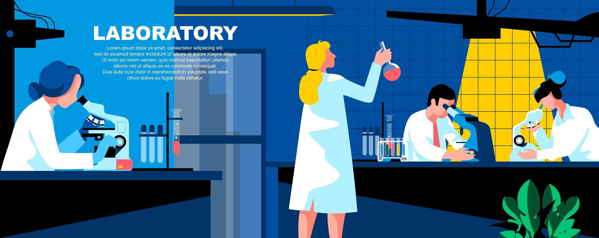 Laboratory flat landing page template vector