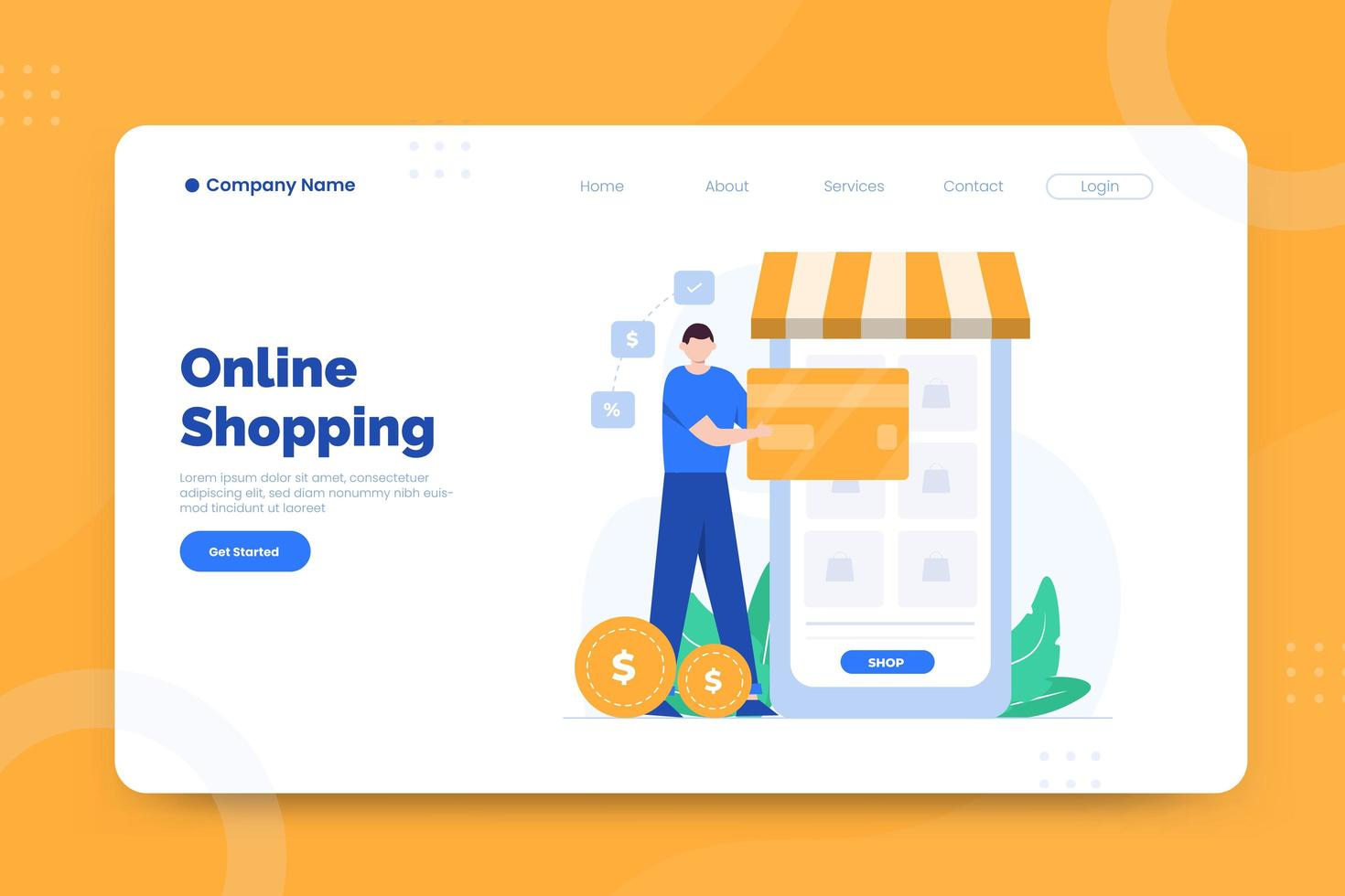 Online shopping landing page vector