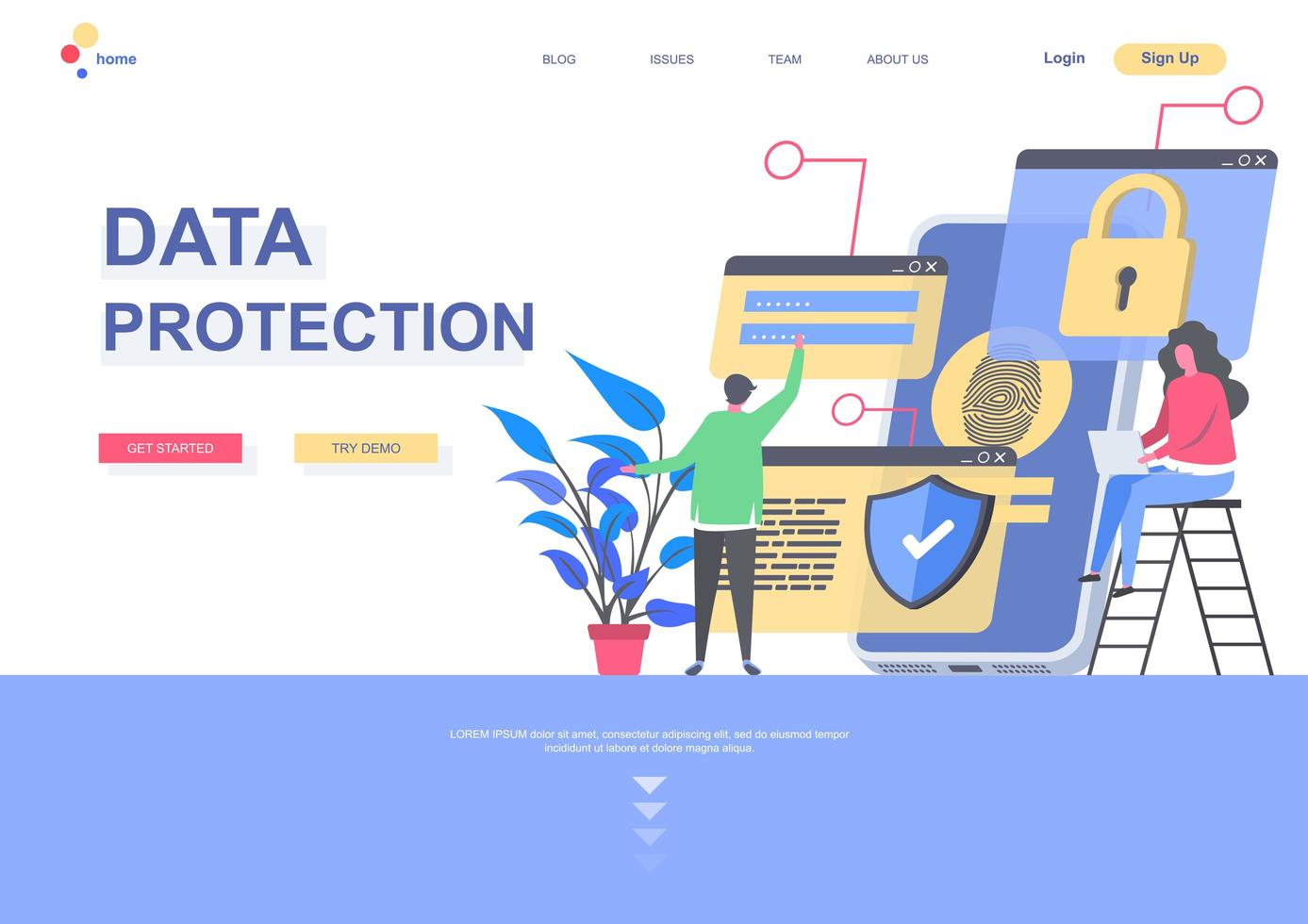 Data protection landing page template vector