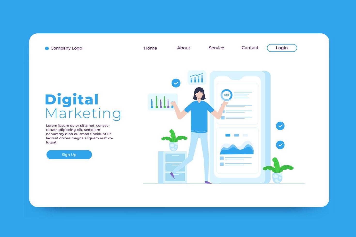 plantilla de página de destino de marketing digital vector