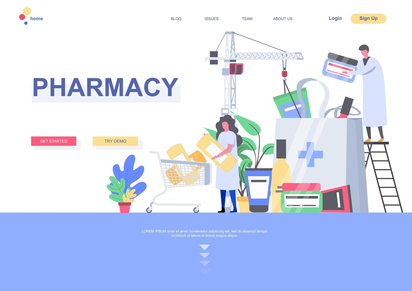 Pharmacy landing page template vector