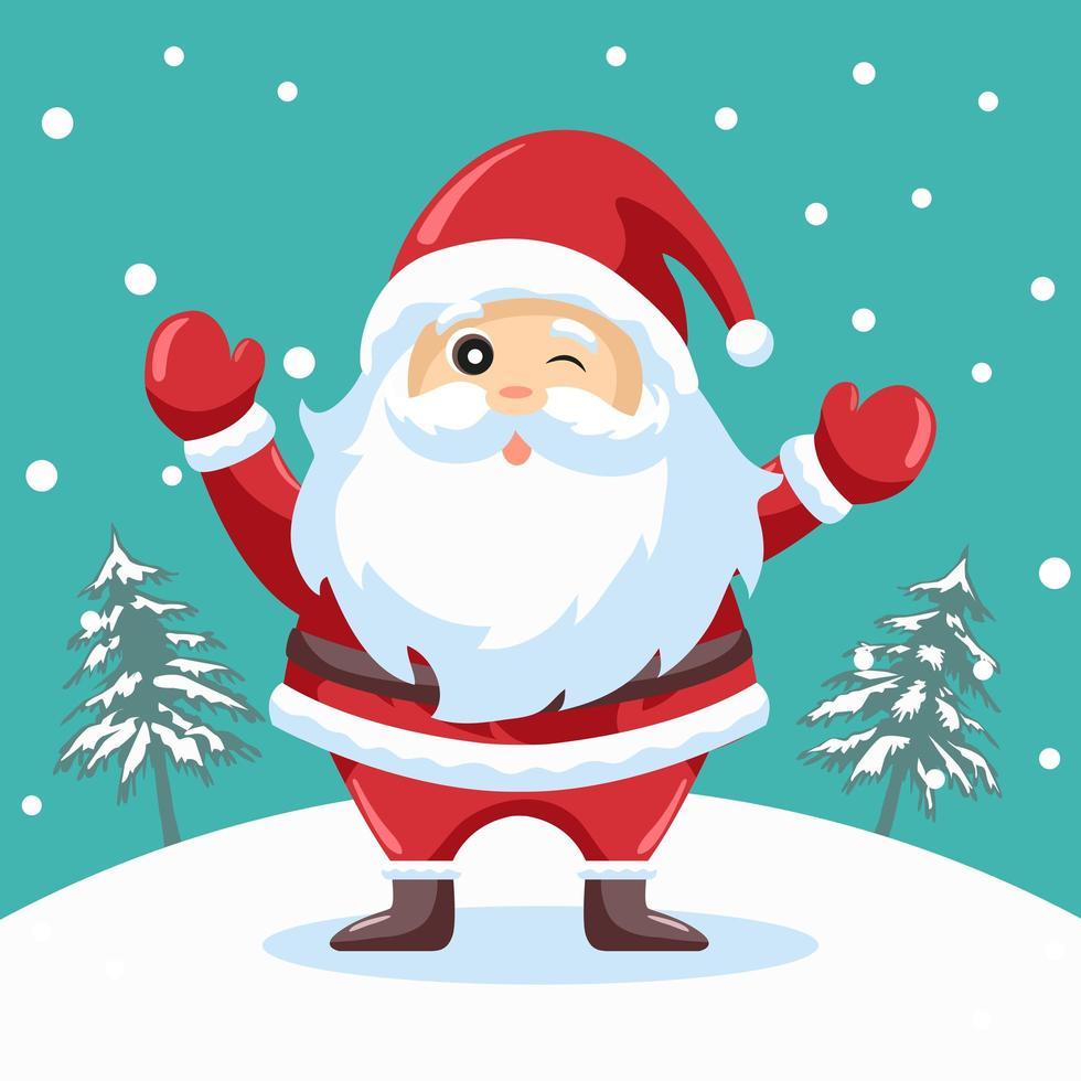 guiño feliz diseño de santa claus para tarjeta de navidad vector