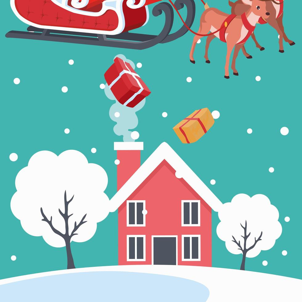 Santa Claus dropping gifts on house vector
