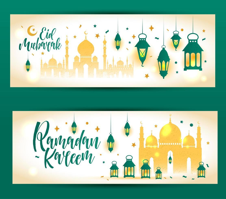 banner islámico ramadan kareem con mezquita vector