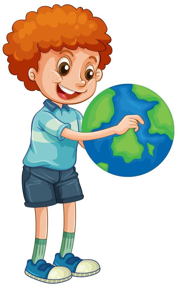 Happy boy holding globe isolated vector