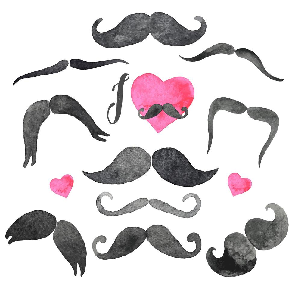 Mustaches set in watercolors vector