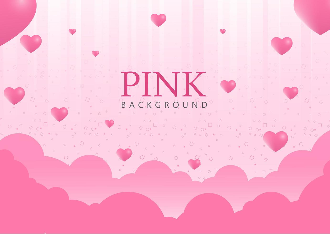 Pink Background with Heart Balloons vector
