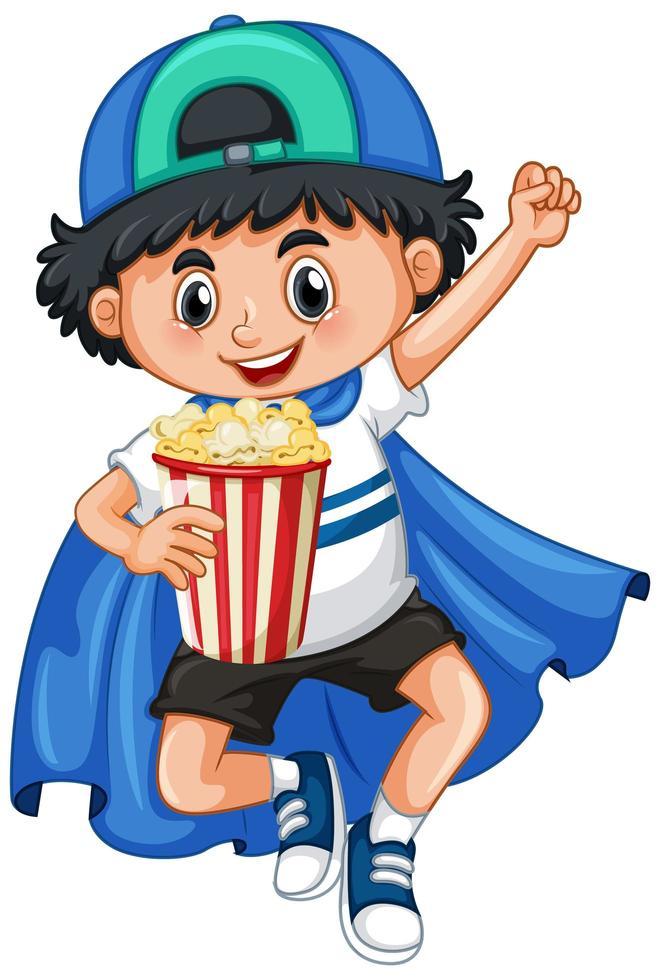 niño feliz con palomitas de maíz vector