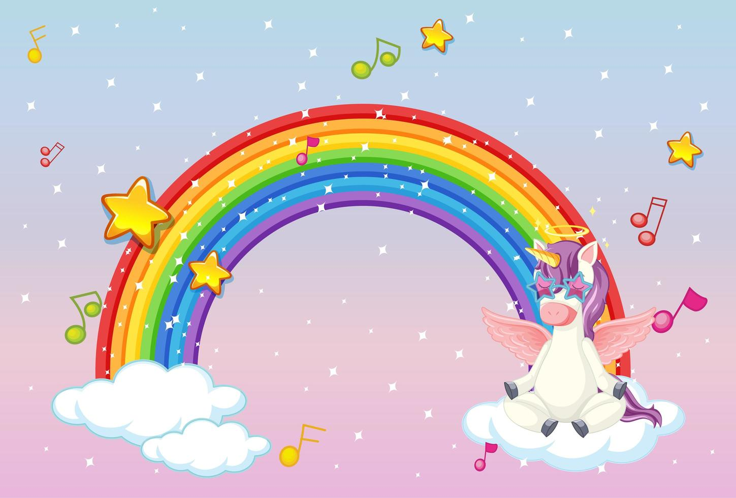 Rainbow with cute unicorn or pegasus on pastel sky background vector