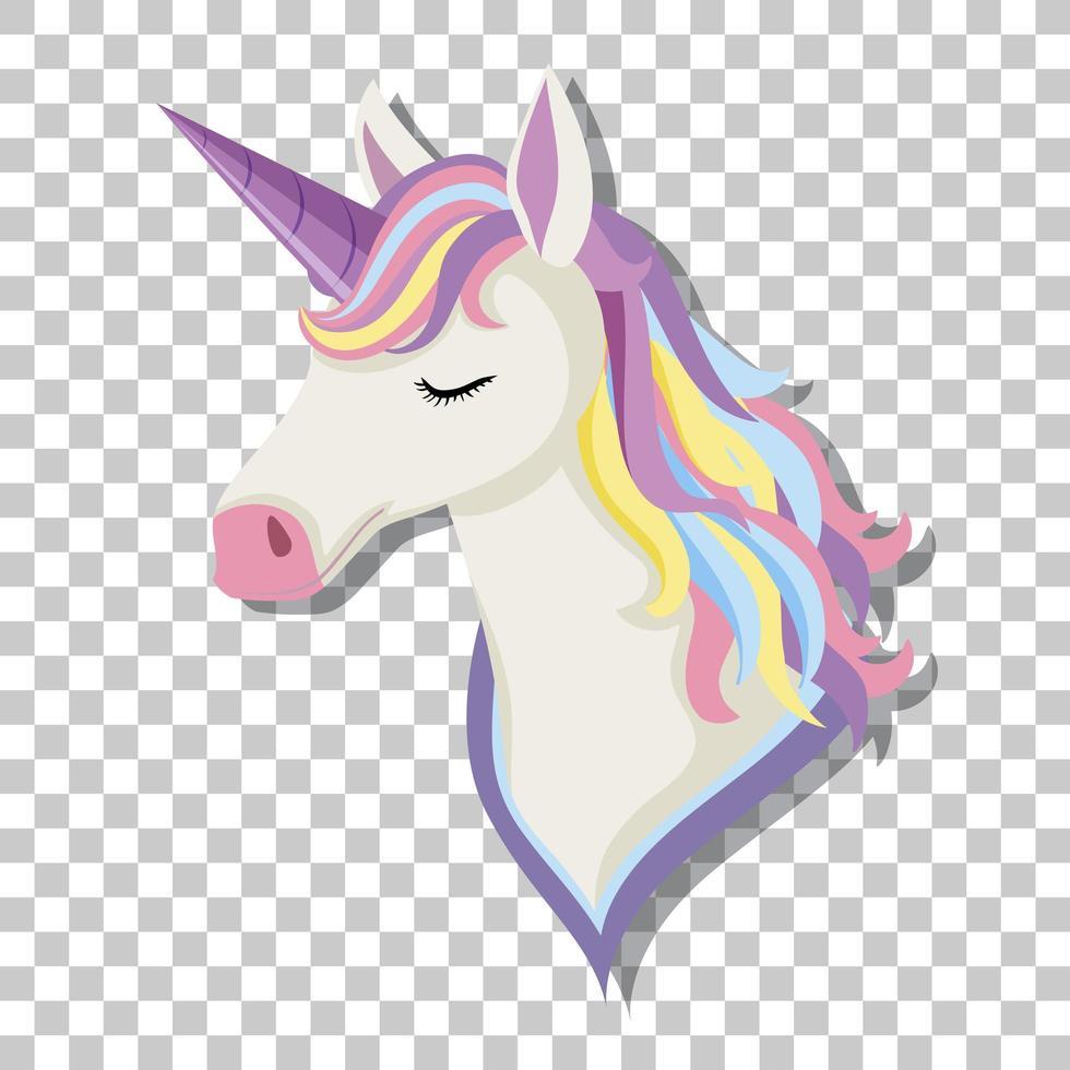 Cabeza de unicornio con melena de arco iris aislada sobre fondo transparente vector