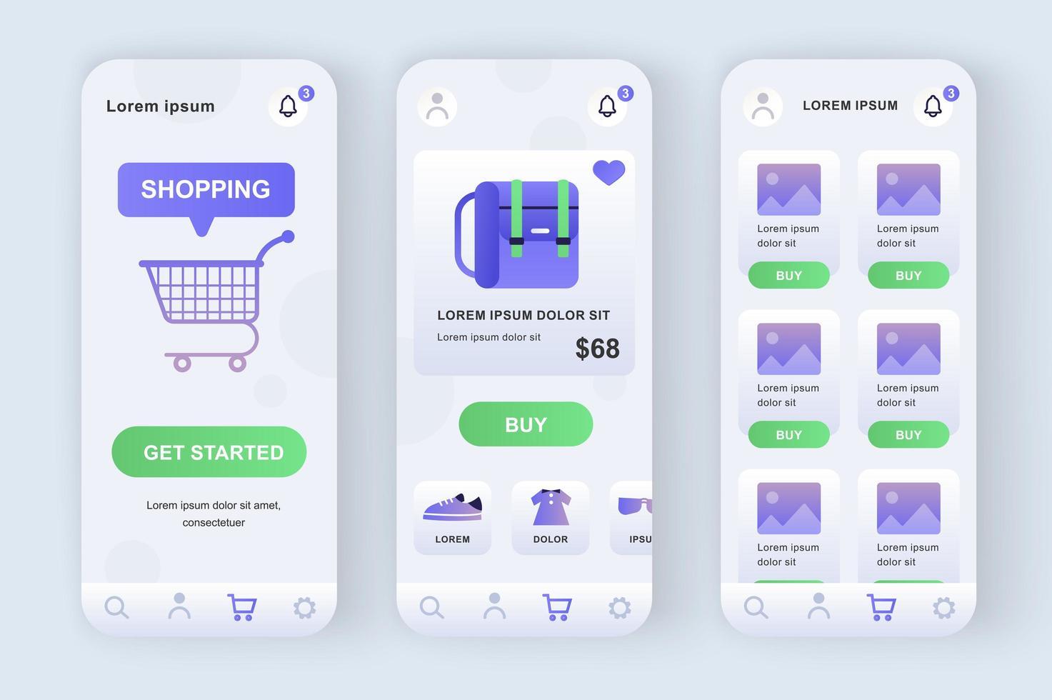 Shopping solution, unique neomorphic design kit vector
