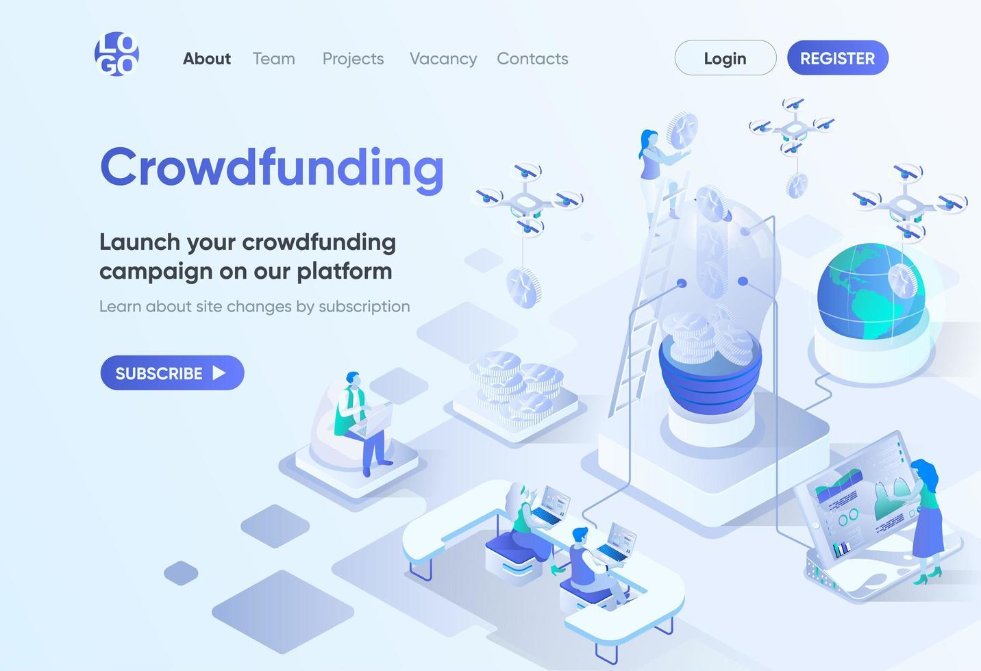 página de inicio isométrica de la plataforma de crowdfunding vector