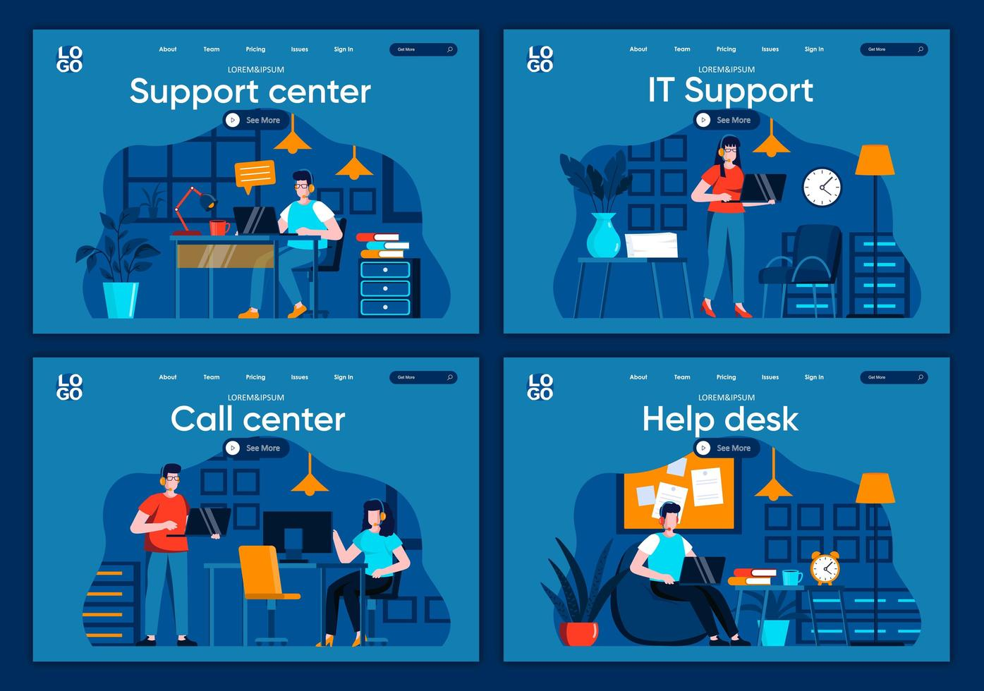 Support service, flat landing pages set vector