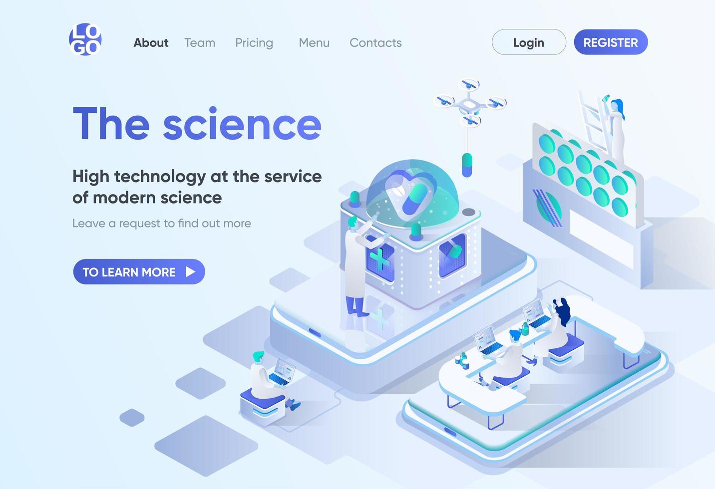 la ciencia, página de inicio isométrica vector