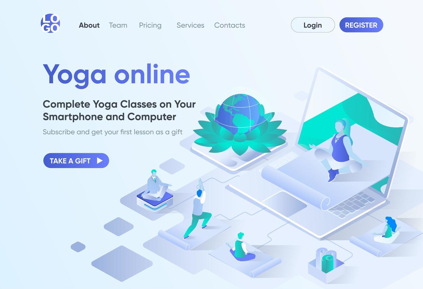 página de inicio isométrica de yoga en línea vector