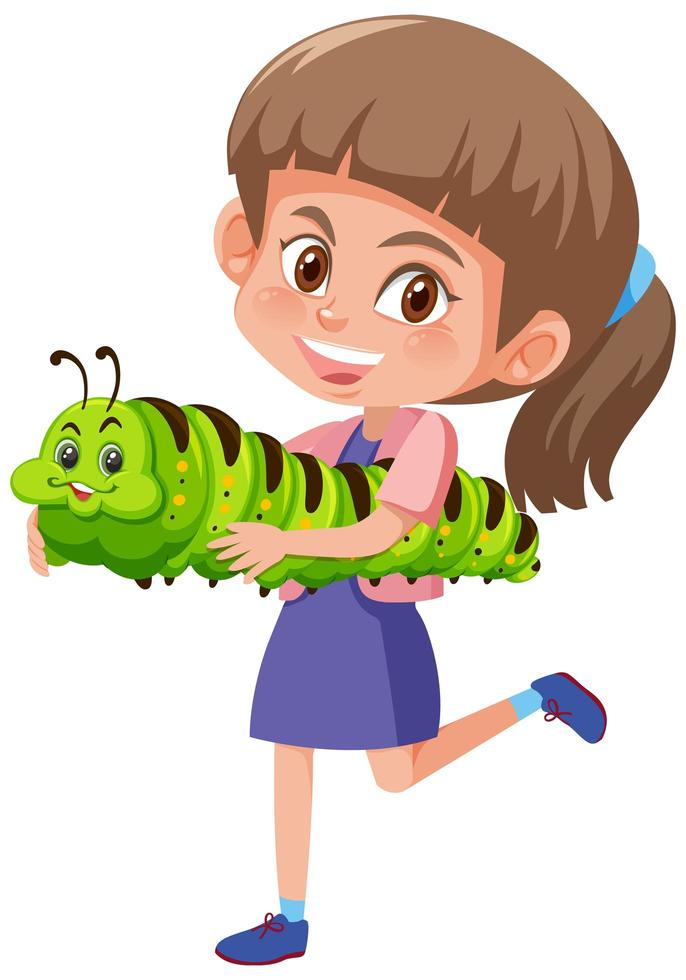niña sosteniendo un lindo personaje de dibujos animados de animales vector