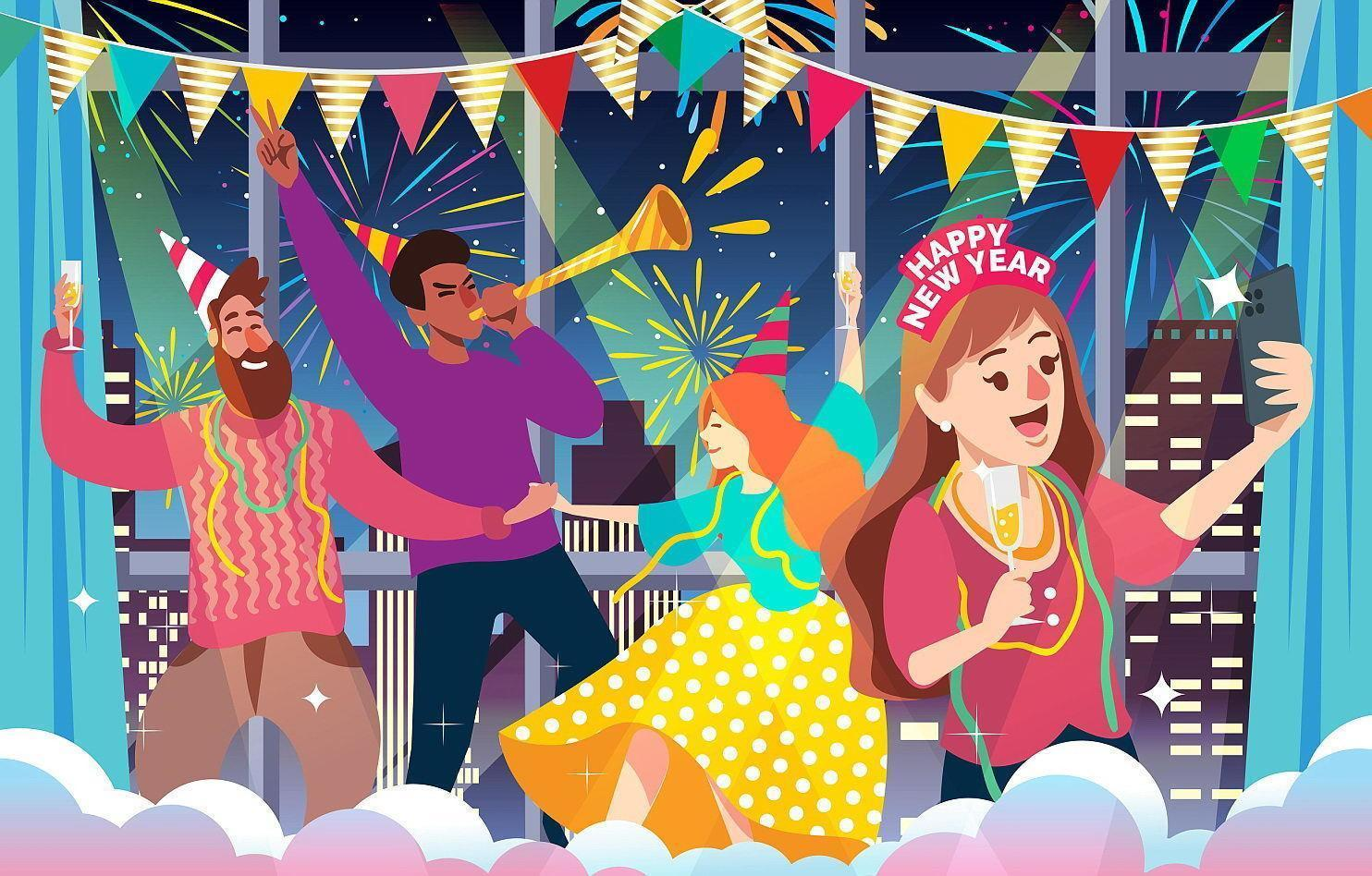 People Celebrating New Year Indoor Party Illustration vector