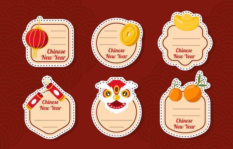 colección de pegatinas de fiesta de año nuevo chino plano simple vector
