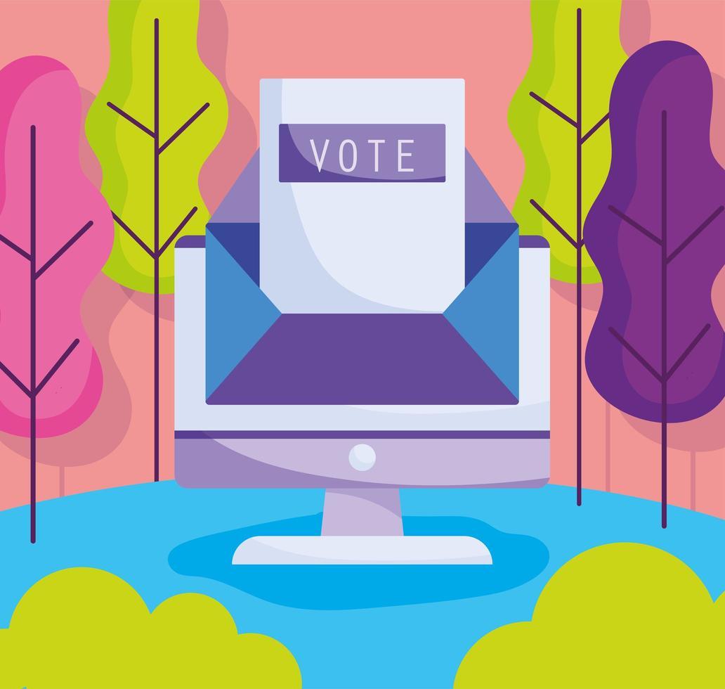 registrarse en línea para votar concepto vector